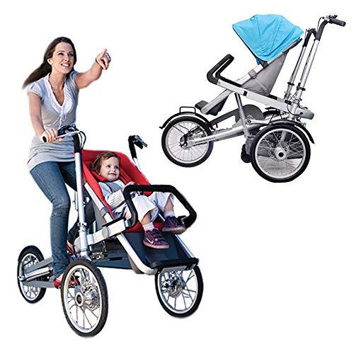 Eltern-Kind-Auto 2 in 1 Kombi-Kinderwagen Faltbare Mutter-Kind-Auto Abnehmbar 2 Modi Free Convertible Fahrmodus + Kinderwagen-Modus Can Sit-and-Ride Adult Unisex,Blau