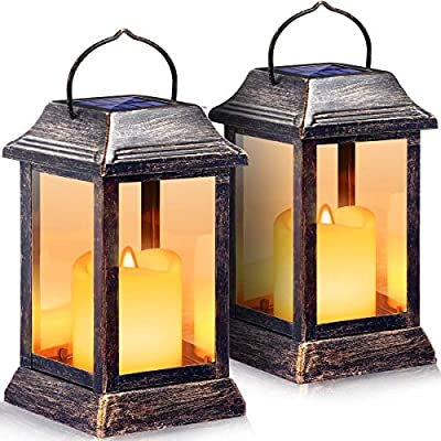 URPOWER Solar Lights Outdoor Metal Solar Lantern with Bigger Solar Panel Waterproof Flickering Flameless Candle Lights Hanging Lanterns Decorative Solar Powered for Patio Garden Yard Deck - 2 Pack