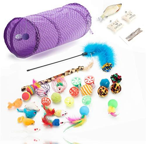 TK Gruppe Timo Klingler 31 TLG. Set Katzenspielzeug - Spielzeug für div. Katzen zur Beschäftigung & Selbstbeschäftigung - Spiel & Spaß mit dem Haustier