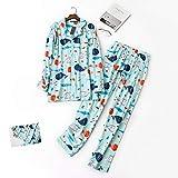 HIUGHJ Pijamas Mujeres 100% Pijamas de algodón Cepillado Conjuntos Femeninos Lindo de Dibujos Animados de Peces Primavera Pijamas de Manga Larga Ropa de Dormir de Las Mujeres