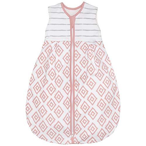Premium Baby Schlafsack Sommer, Bequem & Atmungsaktiv, 100% Bio-Baumwolle, OEKO-TEX Zertifiziert, Flauschig Weich, Bewegungsfreiheit, 1.0 TOG von emma & noah (Rauten Rosa, 90cm (80/98))