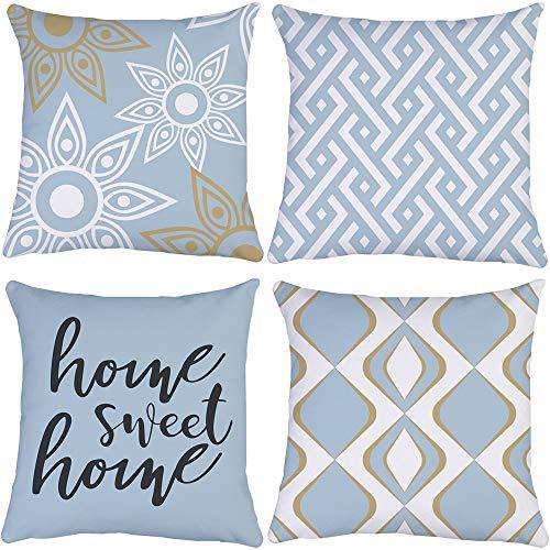 Sweet Home, federa per cuscino con motivo geometrico, 20 x 20 pollici, design double-face, set da 4 pezzi, per interni, moderna, per divano auto, arredamento (blu navy e bianco, mix & Match)