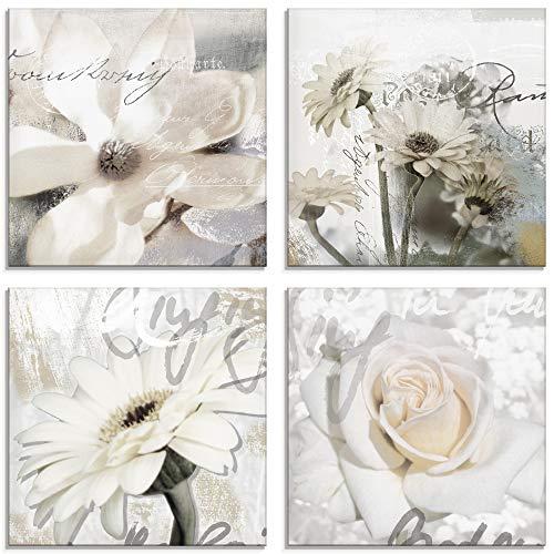 Artland Glasbilder Wandbild Glas Bild Set 4 teilig je 20x20 cm Quadratisch Shabby Chic Natur Blumen Blüten Magnolie Rosen Schrift Landhaus S6SS