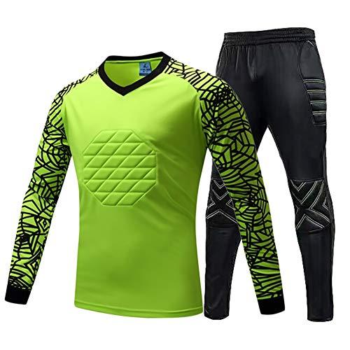 LXC Fußball Antikollisions Torwart-Set Gepolstert Tops + Hosen 2St Schutz Outfit (Color : Green, Size : S)