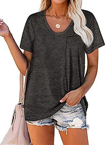 Beautmell Camiseta de verano de manga corta con cuello en V redondeado para mujer, blusa con bolsillo color...