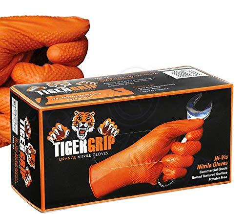 Eppco 8846 Tiger Grip Nitrilhandschuhe, Orange, Größe XXL, strukturierter Griff, Box (90 Stück)