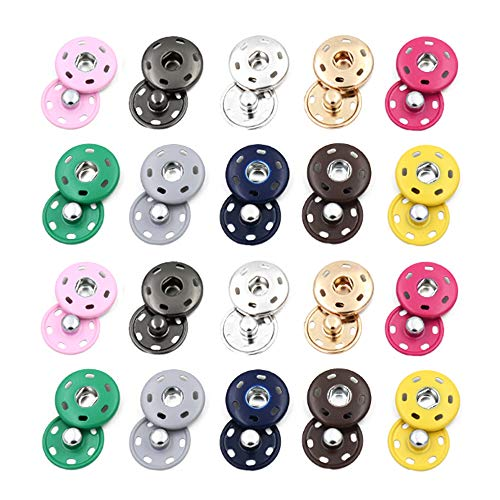 RMISODO 50 Sets 15mm Sew-on Snap Button Metal Snap Fastener Press Stud Button for DIY Craft Sewing Clothing
