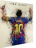 Magic Canvas Art - Cuadro deportivo de Lionel Messi, lienzo de 1 pieza, impresión artística de alta calidad, moderno mural, diseño de pared, tamaño: 90 x 60 cm