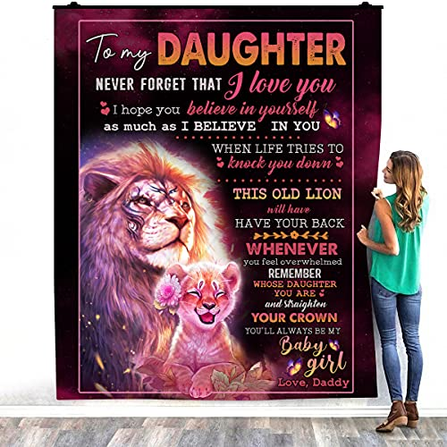 TeeShiny Lion To My Daughter Never Forget That I Love You - Manta cálida de felpa para decoración de dormitorios (127 x 152 cm)