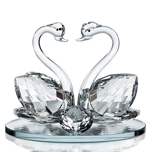 London Boutique Juego de 1 Cisne Doble de Cristal Decorativo, diseño de Animales con Cristales de Swarovski