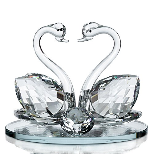 London Boutique Decorativo in Vetro di Cristallo a Forma di Cigno Doppio con Elementi in Cristallo Swarovski Regalo (Set di 1)
