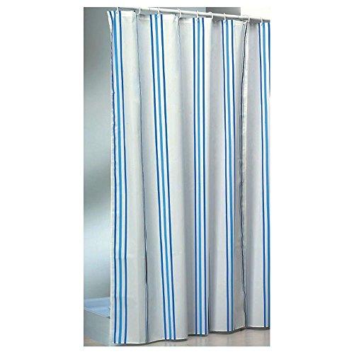 Daloual Textil Duschvorhang/Brausevorhang/Vorhang - Modell: Lightblue Stripe - 180 x 200 cm