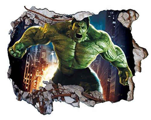 Chicbanners V0403 Wandtattoo, Motiv Marvel The Incredible Hulk, 3D-Wandsticker, selbstklebend, Größe 1000 mm breit x 600 mm tief