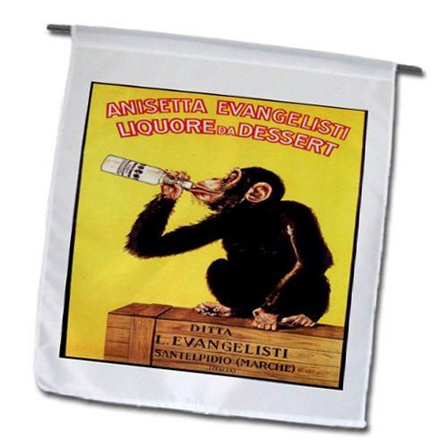 3dRose FL_181071_1 Bild des Affens trinkt einen italienischen Likör, in diesem Vintage-Poster, Gartenflagge, 30,5 x 45,7 cm