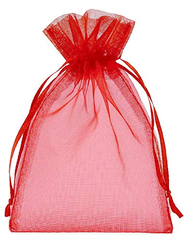 20 Organzasäckchen mit Satinband zum Zuziehen, Größe 30x15 cm, Organzabeutel Geschenkverpackung, Aufbewahrung, Dekoration (Rot)