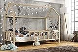 Hausbett 80x160 cm | Kinderbett Kinderhaus mit Rausfallschutz Sicherheitsbarrieren Natur Haus Holz Bett   Made in Germany (80x160)