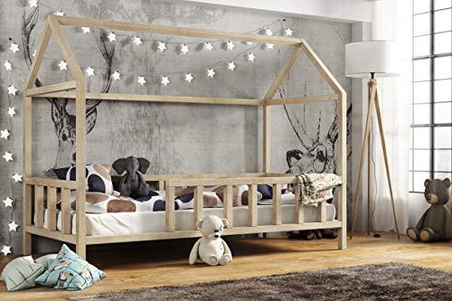 Hausbett 90x200 | Kinderhaus mit Rausfallschutz Sicherheitsbarrieren Natur Haus Holz Bett - Made in Germany
