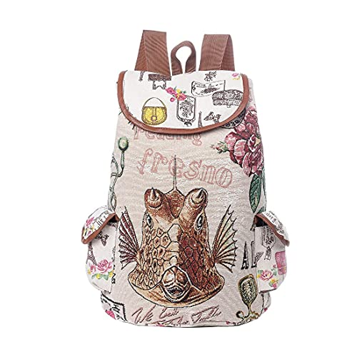 YIXIN Mochila escolar para niñas adolescentes casual mochila de moda mujer lona bordada mochila