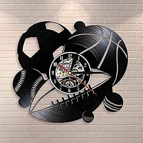 Reloj de pared de vinilo navideño reloj de pared con combinación de pelota deportiva decoración del hogar fútbol baloncesto golf golf disco de vinilo retro vintage reloj de pared regalos deportivos