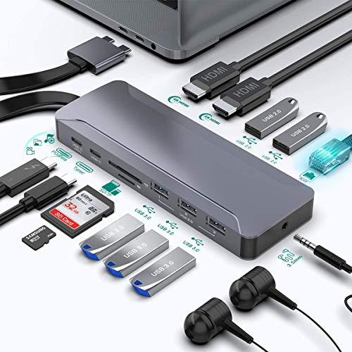 Estación De Acoplamiento Surface Pro 7, 7 En 2 Surface Pro Hub Adaptador con 4K HDMI, 2USB C PD Carga, 2USB3.0, Lector De Tarjetas SD/MicroSD para Microsoft MS Surface Pro 7 (MH481-EU)