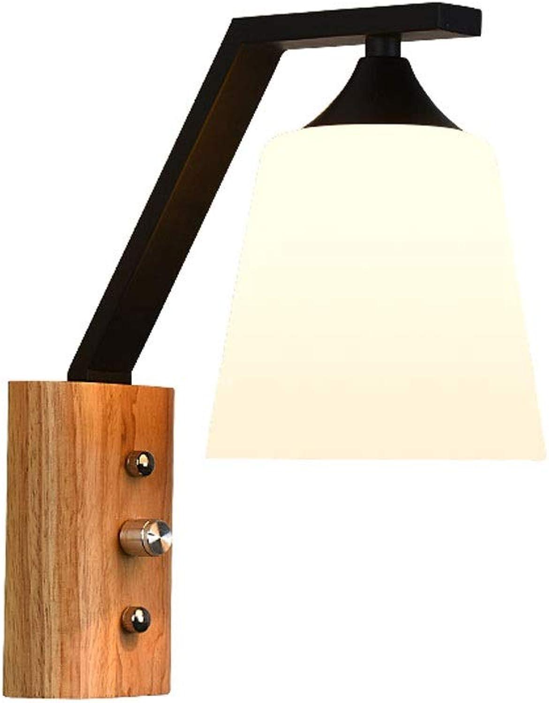 YangMi Wandlampe- Massivholz-Schlafzimmer-Bett-modernes minimalistisches Hotel warme hlzerne Kunst Dimmable Wohnzimmer-Wand-Lampe (Farbe   Khaki, gre   12.5x26cm)