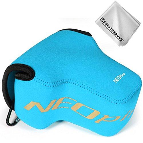 First2savvv Blau Flexible Neopren DSLR/SLR Kameratasche für Nikon Z7 Z6 (NIKKOR Z 24-70mm f/4 S) + Reinigungstuch