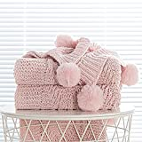 Chunky Knit Blanket with pom poms- Thick, Soft, Big, Cozy Throw Blankets for Couch, Bed, Sofa, Chair-50×60 Inches,Pink
