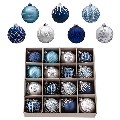 Valery Madelyn 16 Piezas Bolas de Navidad de 8cm, Adornos Navideños para Arbol, Decoración de Bolas de Navidad Inastillable Plástico Azul y Plata, Regalos de Colgantes de Navidad (Deseos de Invierno)