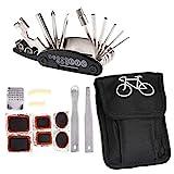 Xrten 16 en 1 Trousse d'outils de Vélo, Kit Réparation Vélo Pneu Outil Multifonction et Kit de Réparation pour Vélo