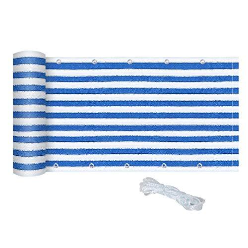 Outsunny Sichtschutz, Sichtschutzstreifen, 2er-Set, Balkon UV-Schutz, Wetterbeständig und Pflegeleicht, Blau, Weiß, 5 x 0,9 m