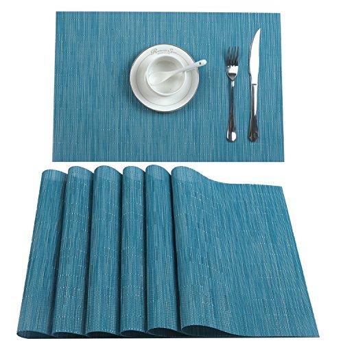 U'Artlines Lot de 6 Set de Table tressé en PVC Lavable résistant à la Chaleur 30x45cm(Bleu)