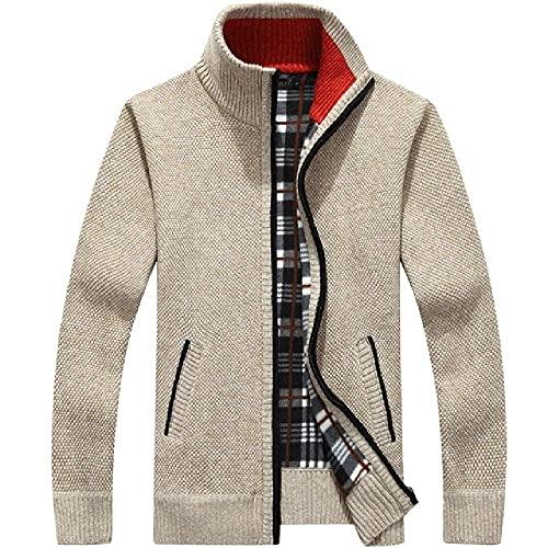 Los hombres de punto suéter abrigo blanco manga larga polar cremallera completa masculina causal más tamaño de la ropa