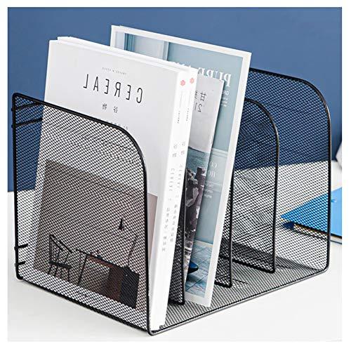 Jjwwhh Buchablagen, Stehsammler, Stehordner, Holz Fächerbox für Schreibwaren Schreibtisch Organizer DIN A4,Schwarz
