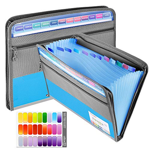 Expanding File Folder, 13 Pockets Filing A4 Document Accordion Folder Expandable File Organiser with Zipper, Portable Document Organiser with Tags for Office and School