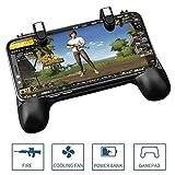 OXoqo Controller per Videogiochi PUBG Gamepad, Joystick 4-in-1 per telefoni L1R1 Pulsanti per sparare e puntare con Ventola di Raffreddamento e Power Bank per PUBG/Coltelli