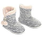 MaaMgic - Mujer Zapatillas Pantuflas Antideslizante de Invierno, como Casa Botas Extra Cálido,Knitted Ball-Gris,35/36EU