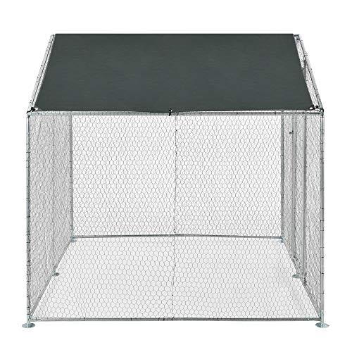 Pro-Tec Freilaufgehege Freigehege 2x2x2m Tierlaufstall mit Sonnenschutz Kleintierstall Hühnerstall Hühnerkäfig Voliere - 6