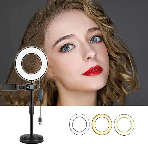 LED-ringlamp Met Statief En Telefoonstandaard, Voor Video, Dimbare Desktop Selfie-ringlamp Voor Streaming, Make-up, Fotografie,S