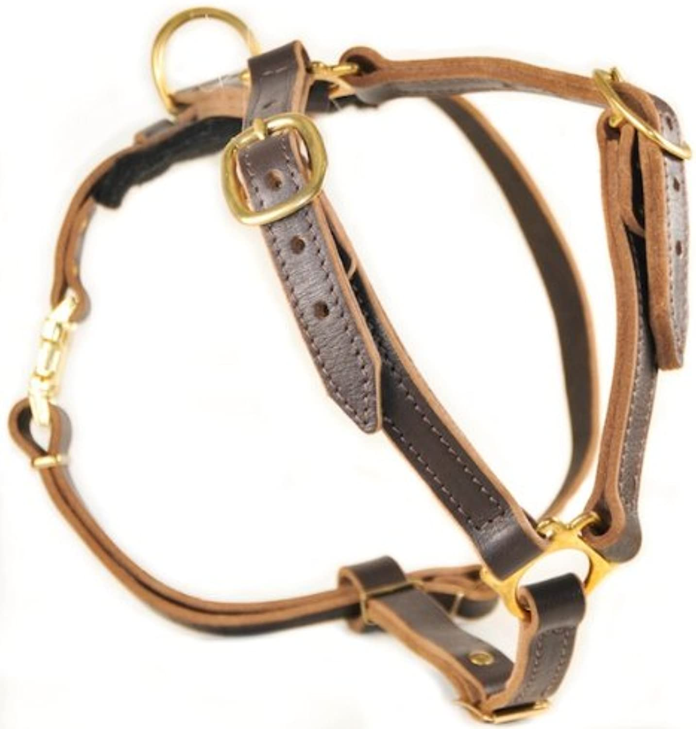 Dean and Tyler Tyler's Choice Solid Brass Hardware Leather Dog Harness, Brown, Large  Fits Girth Size  32Inch to 39Inch
