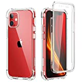 SURITCH Clear Case for iPhone 12/iPhone 12 Pro,[Built in Screen Protector] Full Body Protective Shockproof Bumper Rugged Cover for iPhone 12/iPhone 12 Pro 6.1 Inch (Clear)