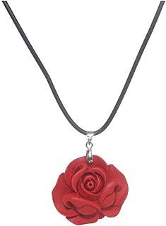 Big Red Rose Flower Necklace