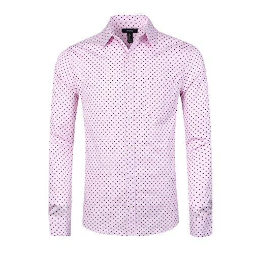 NUTEXROL Men's Casual Cotton Polka Dots Long Sleeve Dress Shirts(Pink,2XL)