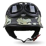 Moto Helmets® - D33 set 'Army Snow', casco jet a scodella, per moto, scooter, monopattino, stile restrò/vintage, con occhiali, diverse taglie