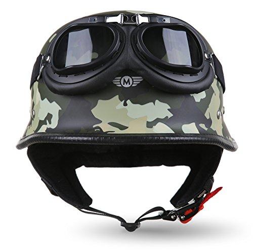"Moto Helmets® D33-Set ""Army Woods"" · Brain-Cap · Halbschale Jet-Helm Motorrad-Helm Roller-Helm Scooter-Helm Bobber Mofa-Helm Chopper Retro Cruiser Vintage Pilot Biker Helmet Brille · M (57-58cm)"
