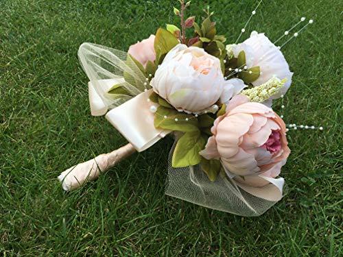 ONDEGO Creme Beige Ivory Brautstrauß Blumenstrauß Blumen Hochzeit Braut Strauß Pfingstrosen Kunstblumen Vintage
