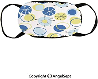 Random Doodle Circles Abstract Floral Children Pattern,Supports Breathing Clean Air Cotton Mask,Light Yellow Grey Baby Blue,9x4.7inches,Anti-Dust,Smoke,Allergies,Gas,Germs and Flu