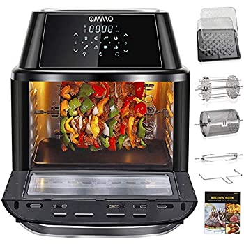 OMMO Air Fryer Oven 17 Quarts 1800W Air Fryer Toaster Oven 8 Presets & 40+ Recipes Oilless Countertop Oven for Air Frying Rotisserie Dehydrating and Baking Dishwasher Safe Accessories