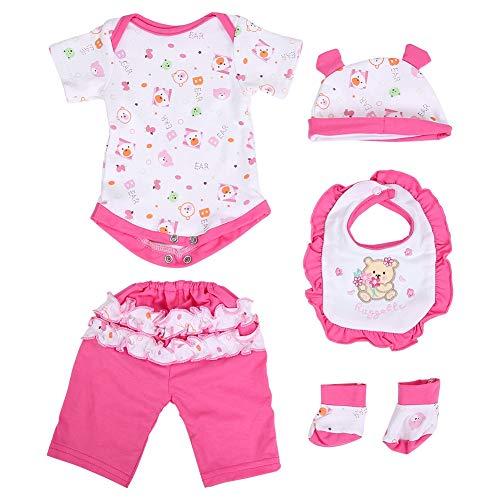 Baby Doll Simulazione Vestiti per bambole Bella set da cinque pezzi Newborn Reborn Doll Outfit Cappello Bib Accessori per bambole da 17 pollici