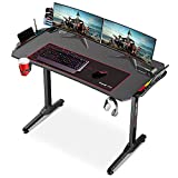 Dripex Mesa Gaming RGB con Tablero de Fibra de Carbono, 110 x 60 x 75 cm Gaming Desk con Soporte para Tazas y Auriculares, Patas Regulables, Negro