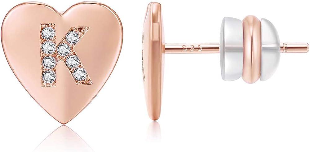 KissYan Heart Initial Store Gorgeous Stud Earrings Sterling 925 Hy Post Silver